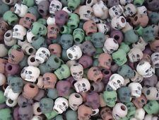 Pony Beads Skulls 50pc Camo Mix 9x6mm Halloween Hair Party Fun Rave FREE POSTAGE