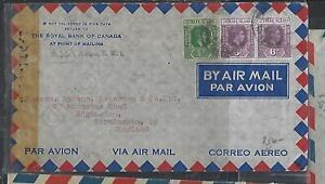 LEEWARD ISLANDS COVER (PP0111B) 1943  KGVI 6DX2+1/2D CENSOR A/M ANTIGUA TO UK