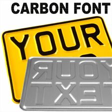 CARBON small 7x5 yellow pressed number plate text Kids Toy Car motorcycle metal