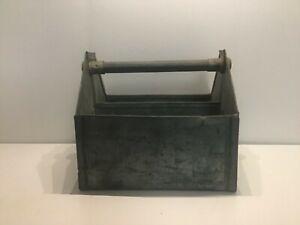 Vintage galvanized homemade tool box or bottle holder