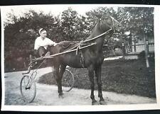 Vintage Glass Plate Photograph Negative Jockey, Sulky Race Horse + POST CARD