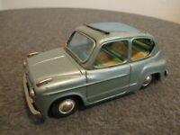 VINTAGE 1950's BANDAI FIAT 600 FRICTION TIN TOY RAG-ROOF - C INFO