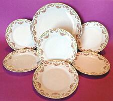 Nippon Noritake - Cake Plate Dessert Set - Hand Painted Pink Rose Garlands Japan