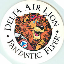DELTA AIR LION ~Fantastic Flyer~ Great Old Airline Luggage Label / Decal