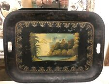 LG Antique French Tole Tray ~ Handpainted ~ French Chateau on a Lake