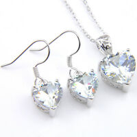 Wedding Heart Set 2 Pcs 1 Lot Natural White Fire Topaz Silver Pendant Earrings