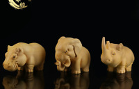 Chinese Box-wood Hand Carving African Hippo Rhinoceros Elephant Statue 3pcs Set