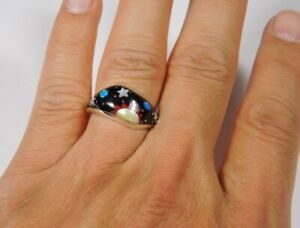 Multicolor Inlay Galaxy 925 Sterling Silver Band Ring size 2-10