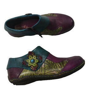 Socofy Vintage Women Leather Ankle Boot Floral Sz 11.5/42 Multicolor Zip F55
