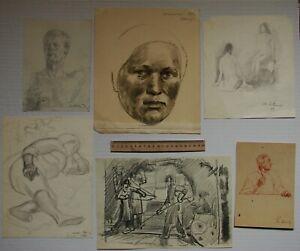 Russian Ukrainian Soviet pencil 6 Paintings portrait figures sketches realism
