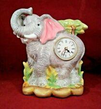 "Vintage Ceramic Elephant Clock 9"" Tall"