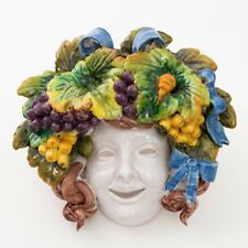 "Italian Pottery Bacchus Majolica Ceramic Mask ""Dionysus God of Wine"" 9"" x 10"""