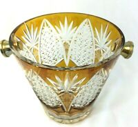 Antique Vintage Amber Glass Cut to Clear Ice Wine Champagne Bucket MINT RARE