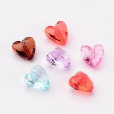 50 x Transparent Acrylic Beads Faceted Heart Mixed Color 12mm diam Hole 1.5mm