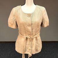 Ann Taylor Loft Womens Size 6 Cap Sleeve Shirt Top 100% Linen Pleats Tan NWT
