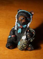 Adorable Indian Black Bear Mamma & Cub Log Cabin Lodge Home Decor Figurine NEW B