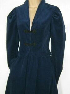 LAURA ASHLEY Vintage 80s Navy Country Cord Skirt & Jacket 2-Piece, UK8/10 (12)