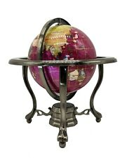 "10"" Tall Tripod Pink Ocean Silver Zinc Alloy table stand Gemstone World globe"