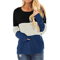 Women Long Sleeve Round Neck T-shirt Tops Ladies Color Stitching T-shirt Tops