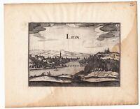 Gravure XVIIe Vue de Lyon Rhône Christophe Tassin 1634