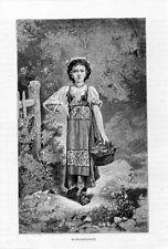 Stampa antica RAGAZZINA della Campagna di Napoli costume tradizionale 1880