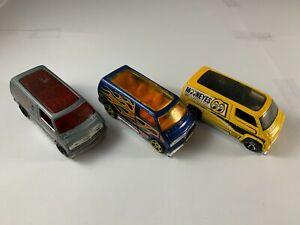 Hot Wheels - Lot of 3 Dodge Vans - Blue, Grey, Mooneyes - Diecast 1:64 Scale
