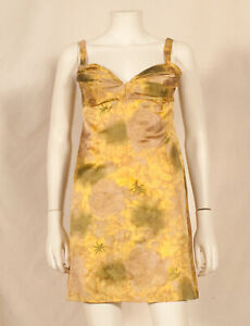50'S FRENCH VINTAGE FLOWER PRINT EVENING DRESS UK 8 fitted 10 / 36 petit 38