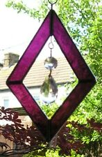 Stained Glass Purple Diamond Suncatcher With Crystals, Handmade in England