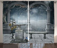 Gothic Curtains Fictional Mythic Stones Window Drapes 2 Panel Set 108x84 Inches