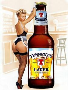 Tennent's Lager Pin Up, Vintage Retro Metal Sign Plaque, Novelty Gift, Bar/Pub
