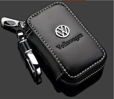 Black Genuine Leather Car Key Holder Keychain Ring Case Bag For Volkswagen