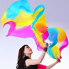 Women High quality Chinese 1 Pair of belly dancing fan veils silk fans