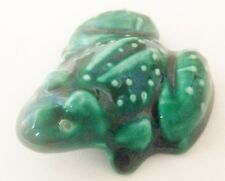 """Teal Green 2"""" Wide Frog Figurine With Back Legs Spread Out"""