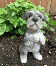 Schnauzer Dog Figurine Begging Resin Statue Lawn Yard Garden Ornament Puppy New