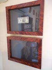 original, mahogany, pair of shadow boxes / frames.