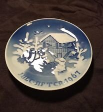 Vintage 1967 Bing & Grondahl Blue Christmas Collector Plate Fuglenes Jul