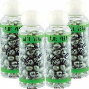 4 x Aloe Vera Vitamin-E Facial Oil 90 Softgels, FRESH Made In USA, FREE US SHIP