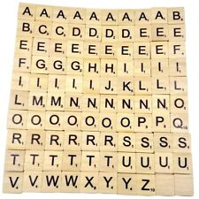 100 Stylish Wooden Scrabble Tiles Black Letters Numbers For Crafts Alphabets
