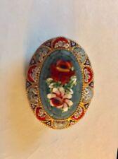 Vintage Floral Rose Oval Shaped Italian  Mosaic Brooch