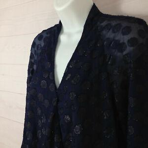 Jennifer Lopez women sz S polka dot blue v-neck long sleeve pleated back blouse