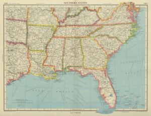 USA SOUTHERN STATES Florida Georgia LA MS AL NC SC TN AR KY BARTHOLOMEW 1947 map