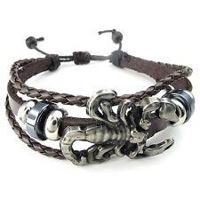 MENDINO Men's Alloy Leather Bracelet Braided Scorpion Gothic Bangle Adjustable