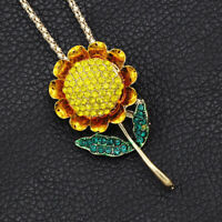 Betsey Johnson Yellow Crystal Sunflower Pendant Charm Necklace/Brooch Pin Gift