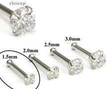 950 Platinum 1.5mm (CZ) STONE Jewel Nose Bone 20g