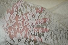 """Stretch Allover Lace Off White Floral Nylon Spandex 60"""" Wide Fabric by Yard"""