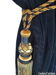 Blue/Gold Window Treatment Curtain Drapery Decor Tassel Rope Cord Tie holdback