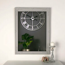 Ornate vintage grey wall mounted mirror French shabby chic living room hallway