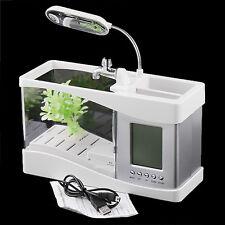 New White Mini USB LCD Desktop Lamp Light Fish Tank Aquarium LED Clock