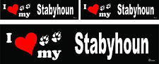 3 I love my Stabyhoun dog bumper vinyl stickers decals 1 large 2 small