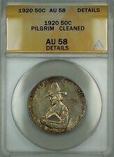 1920 Pilgrim Commemorative Silver 50c Coin ANACS AU-58 Details Cleaned Toned